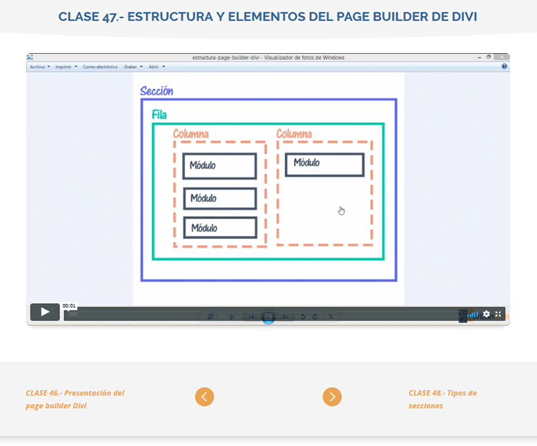 clase de ejemplo en abierto estructura pag builder